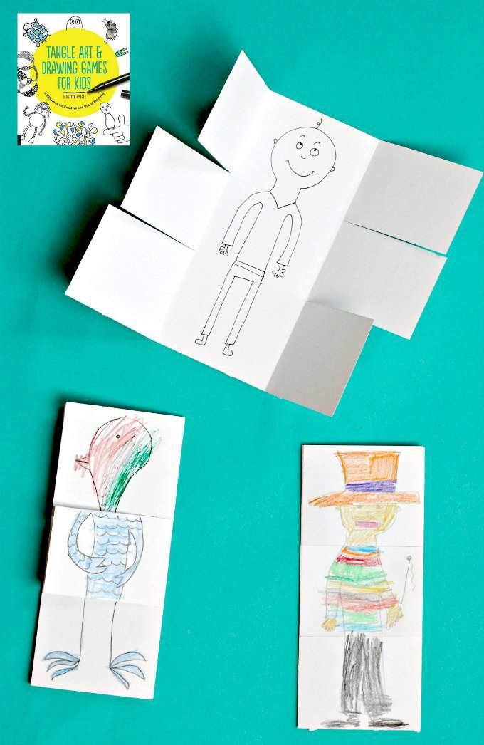 Exquisite corpse drawing game for kids. An art project that will make your kids laugh.