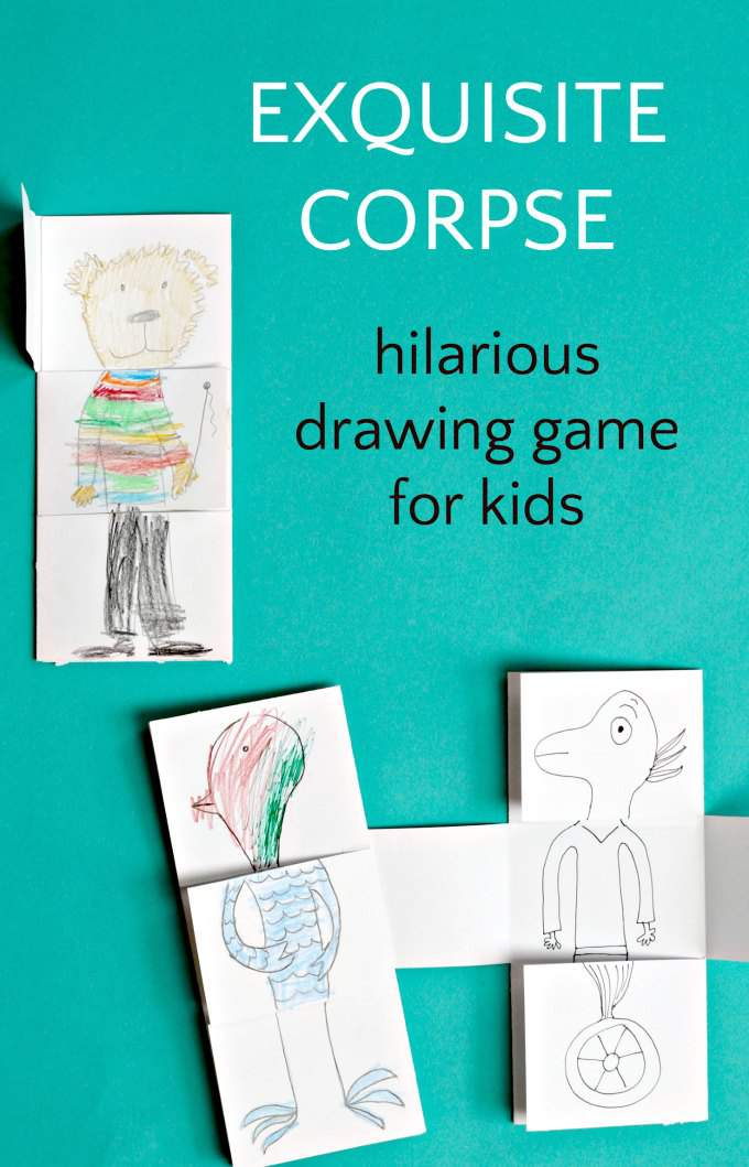 A book filled with funny and silly drawing games for kids, including exquisite corpse drawing game for giggles
