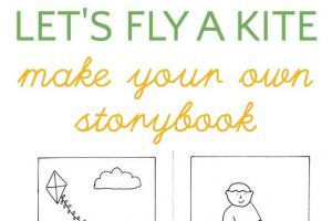 Make your own kite story book with a darling free printable coloring page from Melanie Hope Greenberg, children's book illustrator.