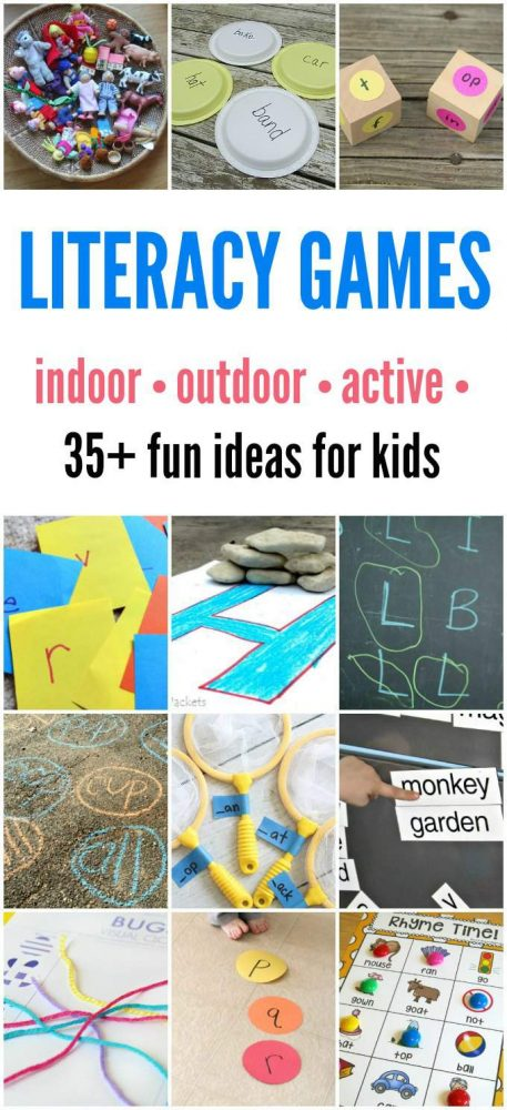 Literacy games for kids that can be done indoors or outdoors.