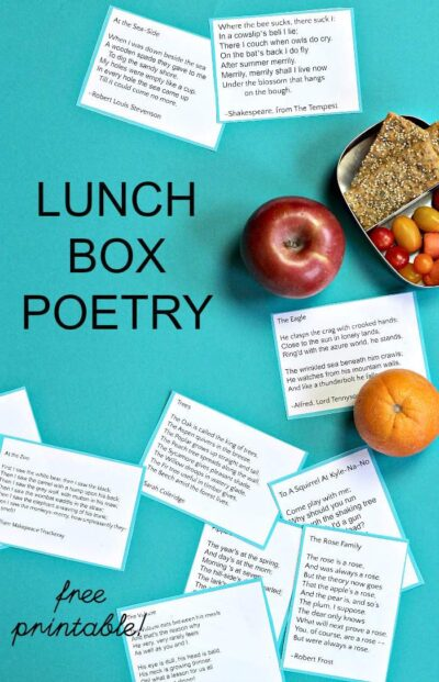 Lunch box notes with poems make the school cafeteria fun. Expose your kids to literacy at lunch!