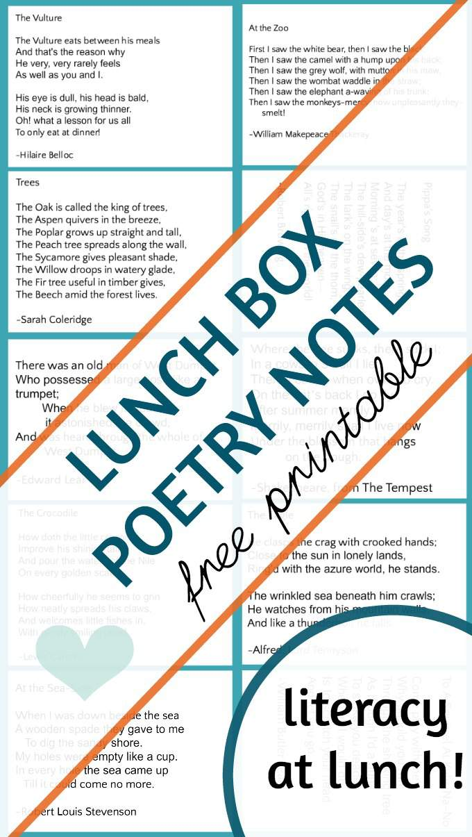Teach a love of poetry with lunch box poetry notes for kids.