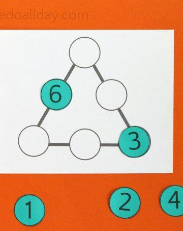Perimeter magic triangle puzzle with printable.