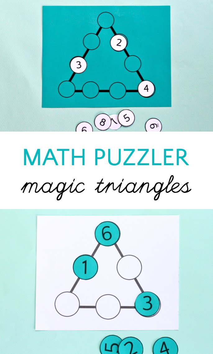 Math puzzle with magic triangles