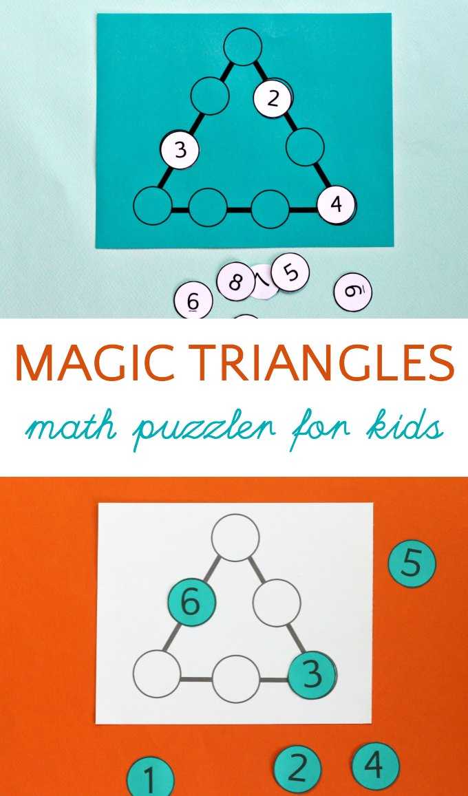 Two different magic triangle math puzzles for kids