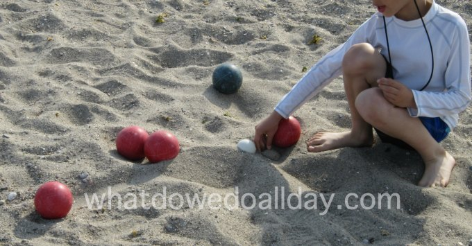 Bocce at the beach is an outdoor family game
