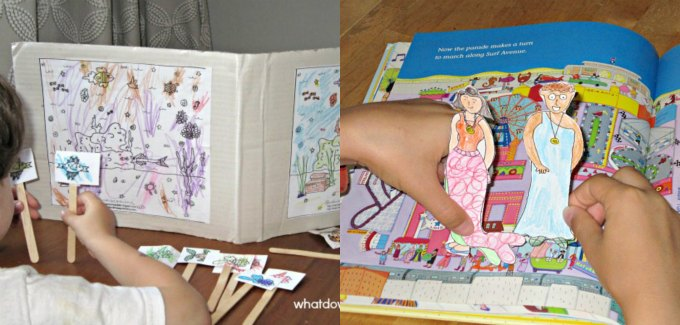Coloring pages and pretend play