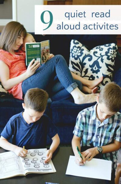 Quiet read aloud activities for kids during reading time.