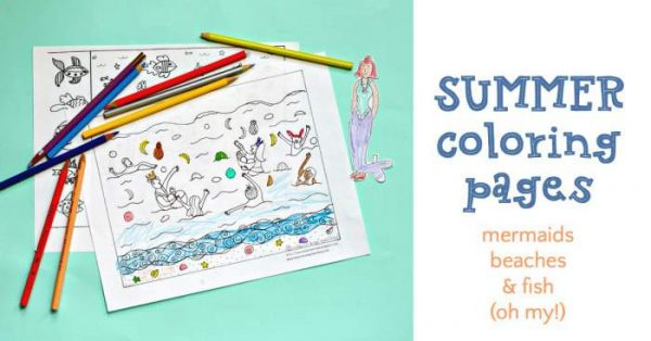 Summer solstice coloring page celebrating Mermaid Day Parade.
