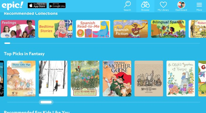 Epic kids ebooks app screenshot