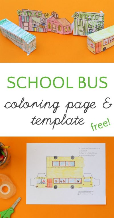 Darling school bus coloring page and 3D template