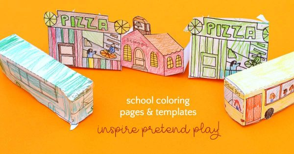 School bus coloring page and village templates