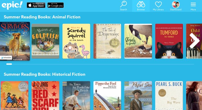 book lists on epic ebooks app