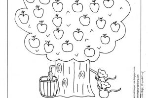 fall fun apple tree coloring page - March Coloring Pages