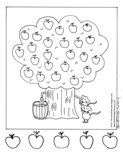fall fun apple tree coloring page - Apple Coloring