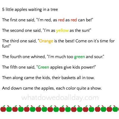 5 little apples rhyme