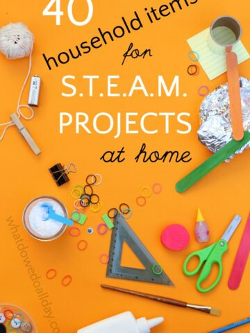 Household materials for STEAM projects at home.