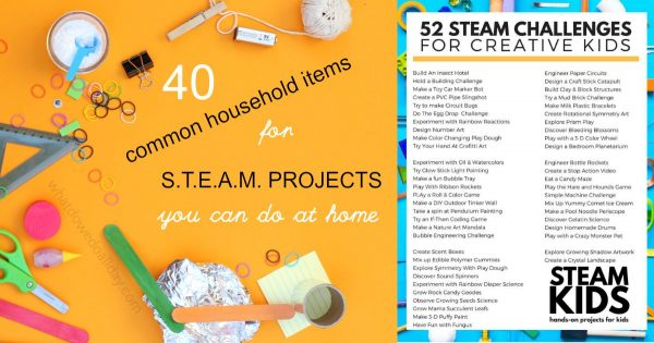 Household items for STEAM projects at home.