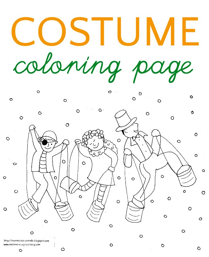 Costume coloring page for Outfit coloring pages