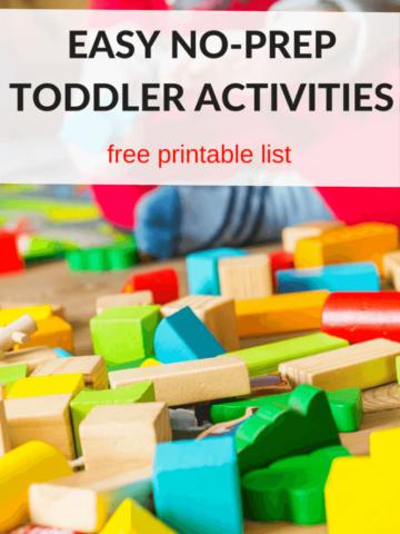 Easy no prep toddler and preschool activities