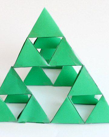 64 tetrahedrons to make a Sierpinski triangle fractal.