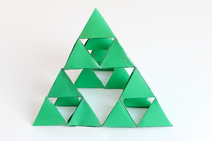 64 tetrahedrons to make a Sierpinski triangle fractal.
