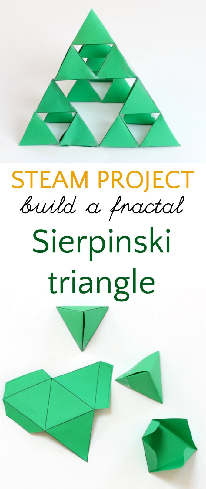 STEAM project for kids to make a fractal triangle.