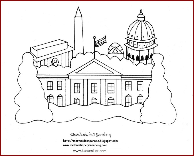 White House coloring page from I Love You Americanly book.
