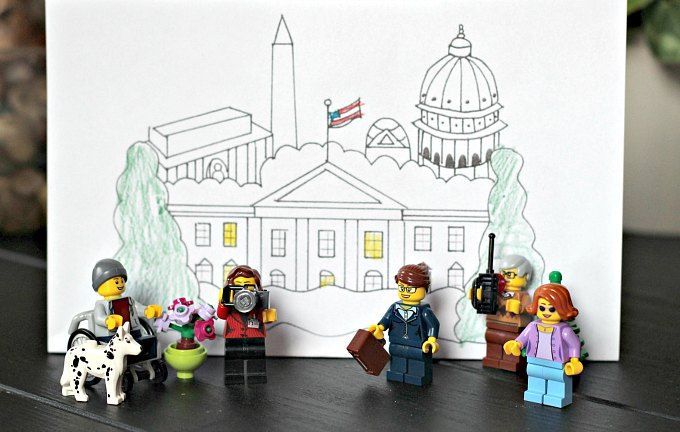 Learn about the White House with a coloring page and pretend play