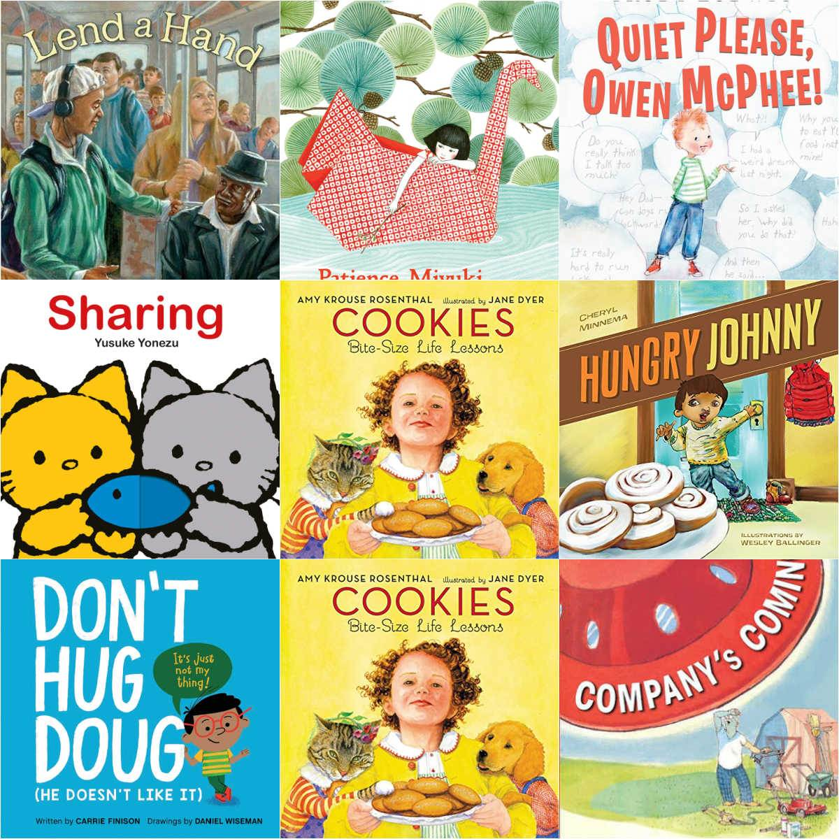collage of 9 book covers of picture books about manners