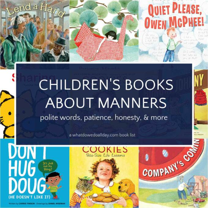 Collage of book covers for children's picture books about manners