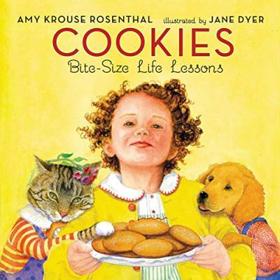 Cookies bite sized life lessons yellow book cover with girl, cat and dog