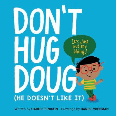Don't Hug Doug blue book cover with boy on front
