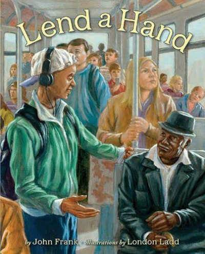 Book cover showing boy helping elderly man seated on bus