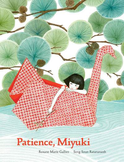 Patience Miyuki book cover showing girl on origami swan in a river
