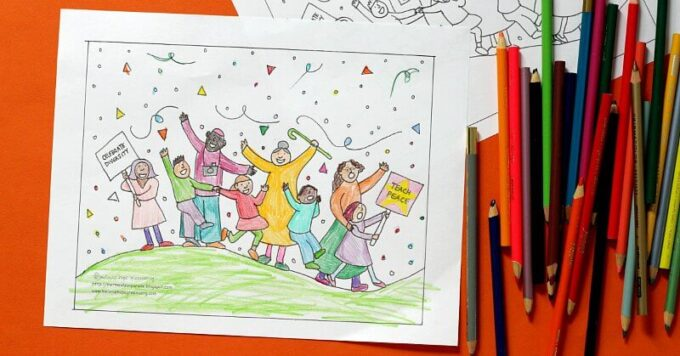 Finished peace and diversity coloring page for kids