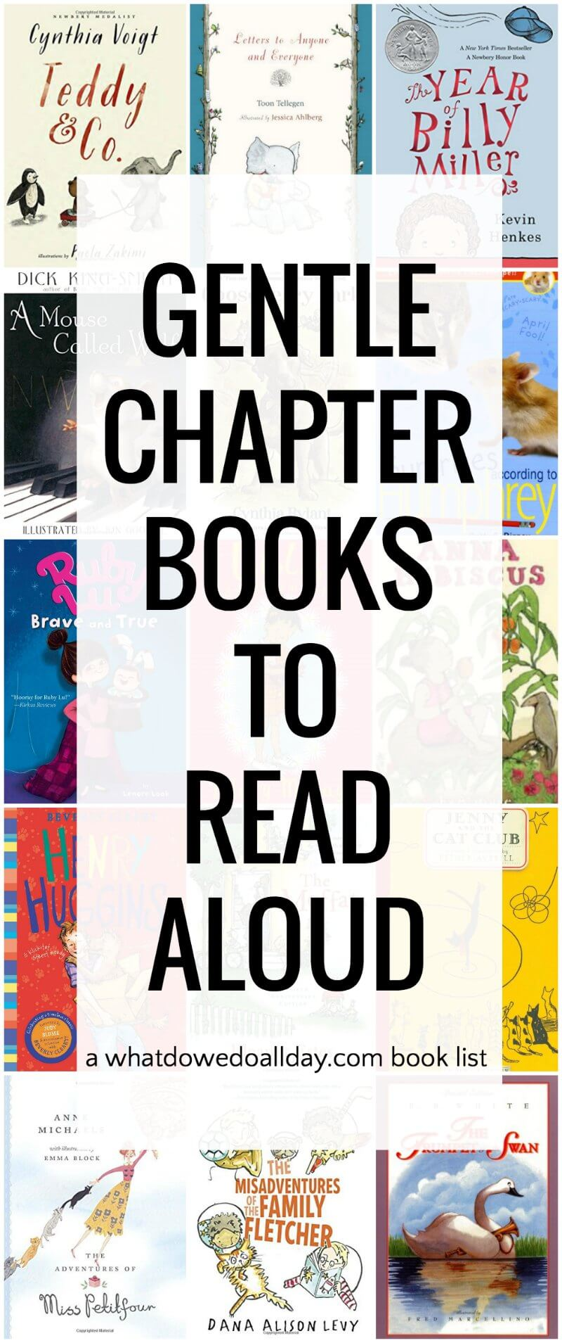 List of non-scary, gentle chapter books suited to reading aloud to kids of all ages.
