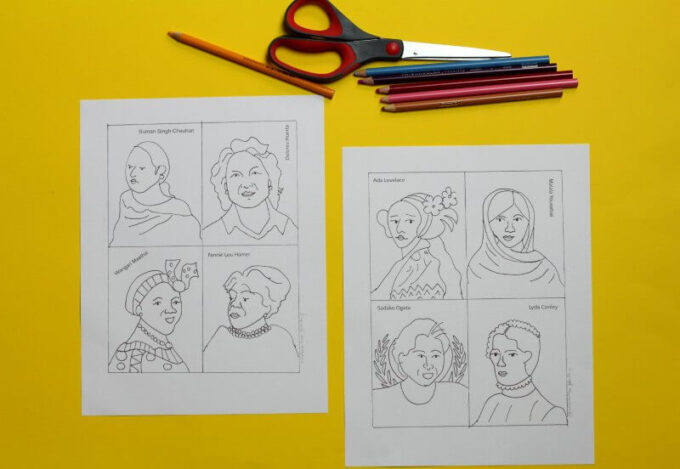 Women cards for kids to color
