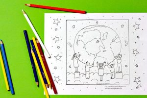Children Holding Up The Earth Coloring Page