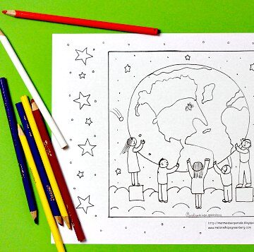 Earth and Children Coloring Page