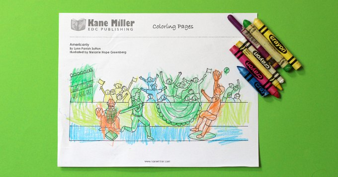 Baseball coloring page on green background with crayons