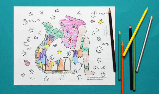 Mermaid coloring page by Melanie Hope Greenberg