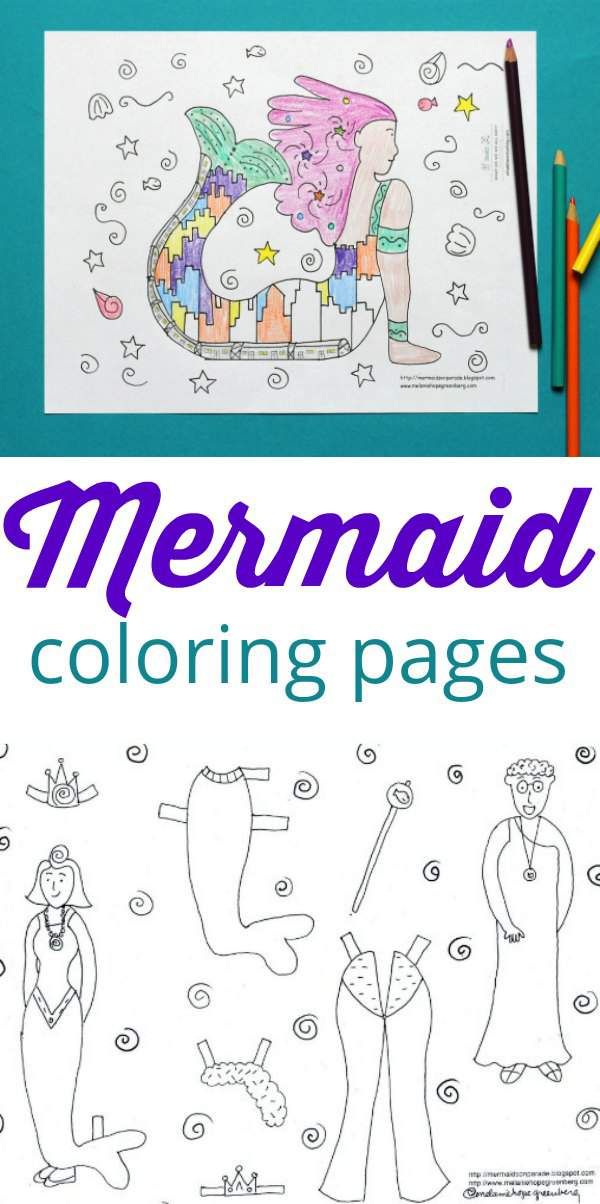 Mermaid coloring pages to download and print