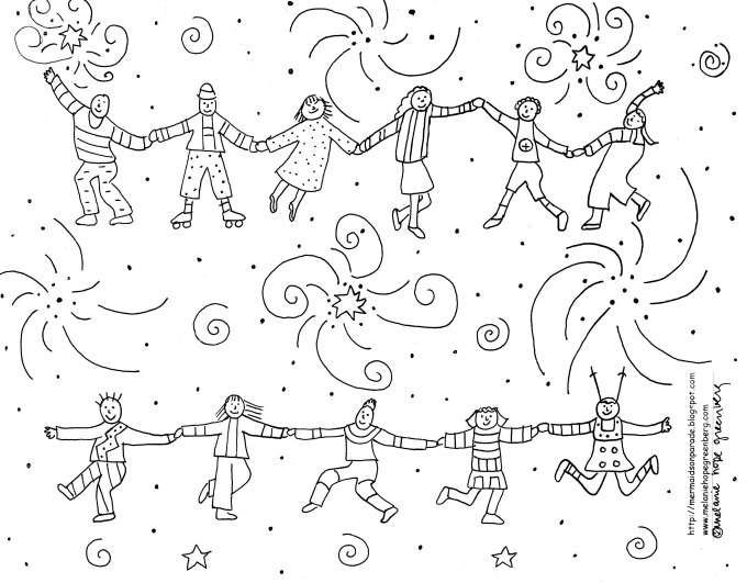 Joyous Children Celebration Coloring Page