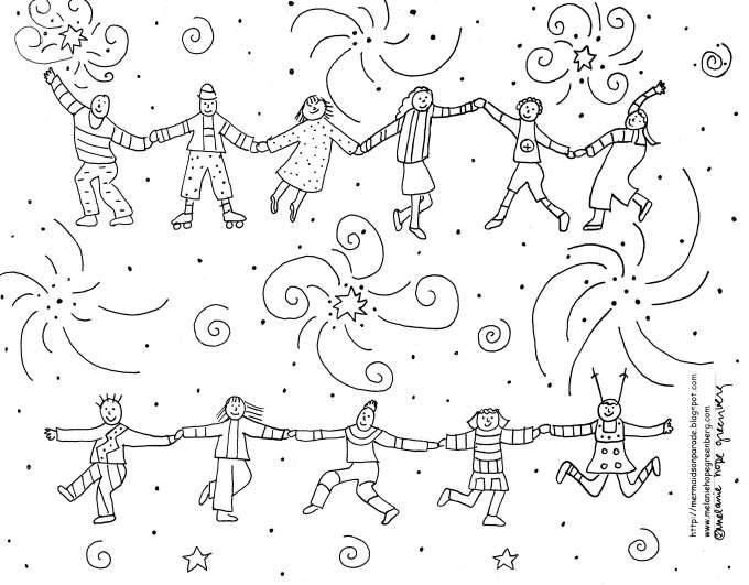 Joyous Children Celebration Coloring Page Celebration Coloring Pages