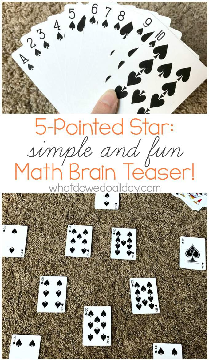 Math card puzzle to stretch kids brains.