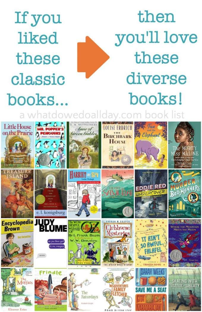 classic books matched with diverse contemporary chapter books for kids