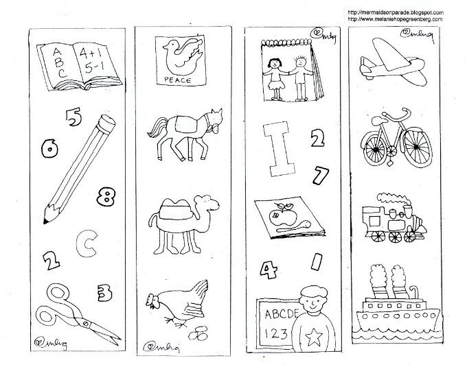 school bookmarks coloring page