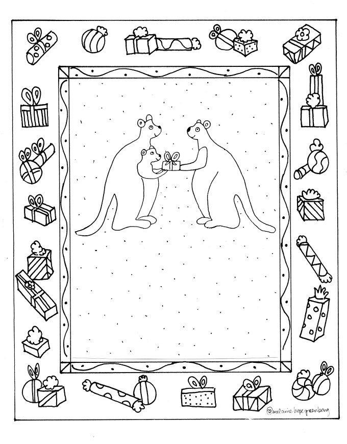 print out this darling christmas kangaroo coloring page for you children hand them a box of crayons and let them color at will no need to stay within the