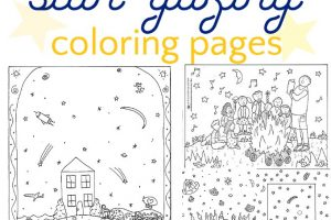 star gazing coloring pages for kids